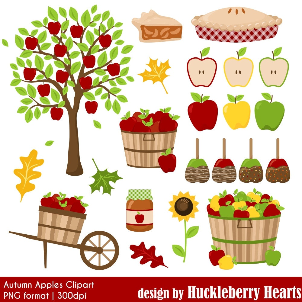 Apple Clipart Digital Apples Autumn Fall