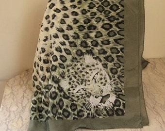 vintage leopard silk scarf
