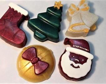 Christmas Soaps (5 pack), Christmas Favors , Christmas Tree Soap, Stocking Stuffers, Santa Soap, Christmas Bells Soap, Stocking Soap Favors