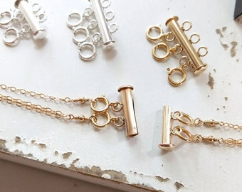 Layering Clasp, Magnetic Layering Necklace Spacer, Gold Fill, Sterling Silver. Minimize tangle when layering necklaces!