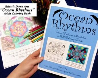 "Ocean Mandala Adult Coloring Book, ""Ocean Rhythms"", 24 mandalas, double-sided, great for colored pencils!"