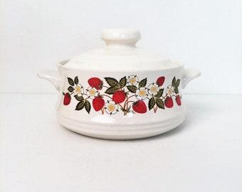 "Strawberries  ""N Cream Sheffield Japan Casserole Dish"