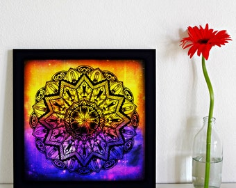"8x8 Canvas Board Print ""Or the unimaginable touch of Time."" Intuitive Mandala Artwork - Purple and Gold Visionary Abstract Art Print"