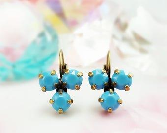 Turquoise Rhinestone Earrings - Blue Cluster Earrings - Swarovski Turquoise Crystal Earrings - Three Stone Earring - Southwest Jewelry E3962