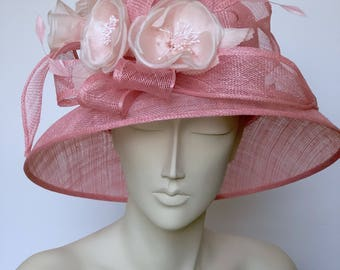 Kentucky Derby Hat Pink Straw Hat WIDE BRIM Hat Church Pink