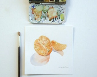 mandarin original watercolor painting still life