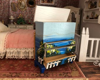 Miniature Hand Painted Dresser, Vintage Dresser, Dollhouse Miniature Furniture, 1:12 Scale, Dollhouse Table and Bench Set