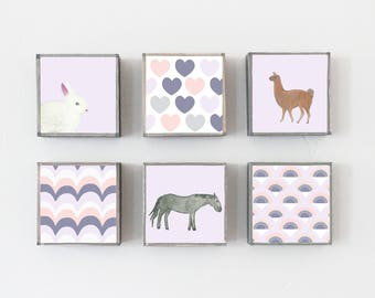 boho nursery art, choose 6 art block prints, llama pony bunny purple decor, nursery decor, children wall decor, geometric prints, nursery