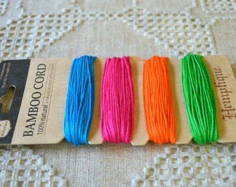1mm Polished Bamboo Cord Jewelry Cord 1mm 9 yard Assorted Neon Colors