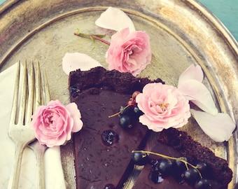 Decadent, food photography, kitchen art, baking, still life photograph, flower art print, dessert, modern vintage wall art, chocolate