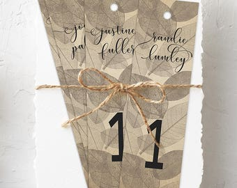 Hanging Bookmarks, Wedding Reception Seating Cards, Semi Custom - Winter Leaves