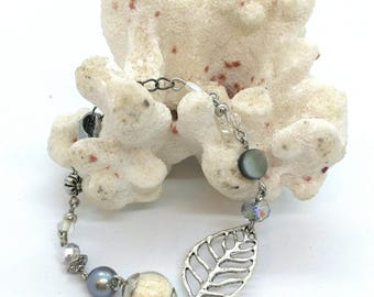 Leaf bracelet and Tahitian Pearl