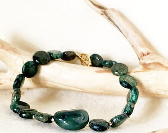 A  Green Jasper Bracelet, Green Gemstone Jewelry, Green Blue Gemstone, Protection Stones Jewelry, Unique Gift