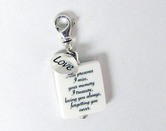 P3fa - Custom Photo Pendant on Swivel Lobster Claw Clasp with Message Charm - Add it to any charm bracelet.
