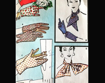 Vintage 50s Shortie Wrist Length Gloves Glove Scarf Sewing Pattern McCall's 2040 Large 7-7 1/2