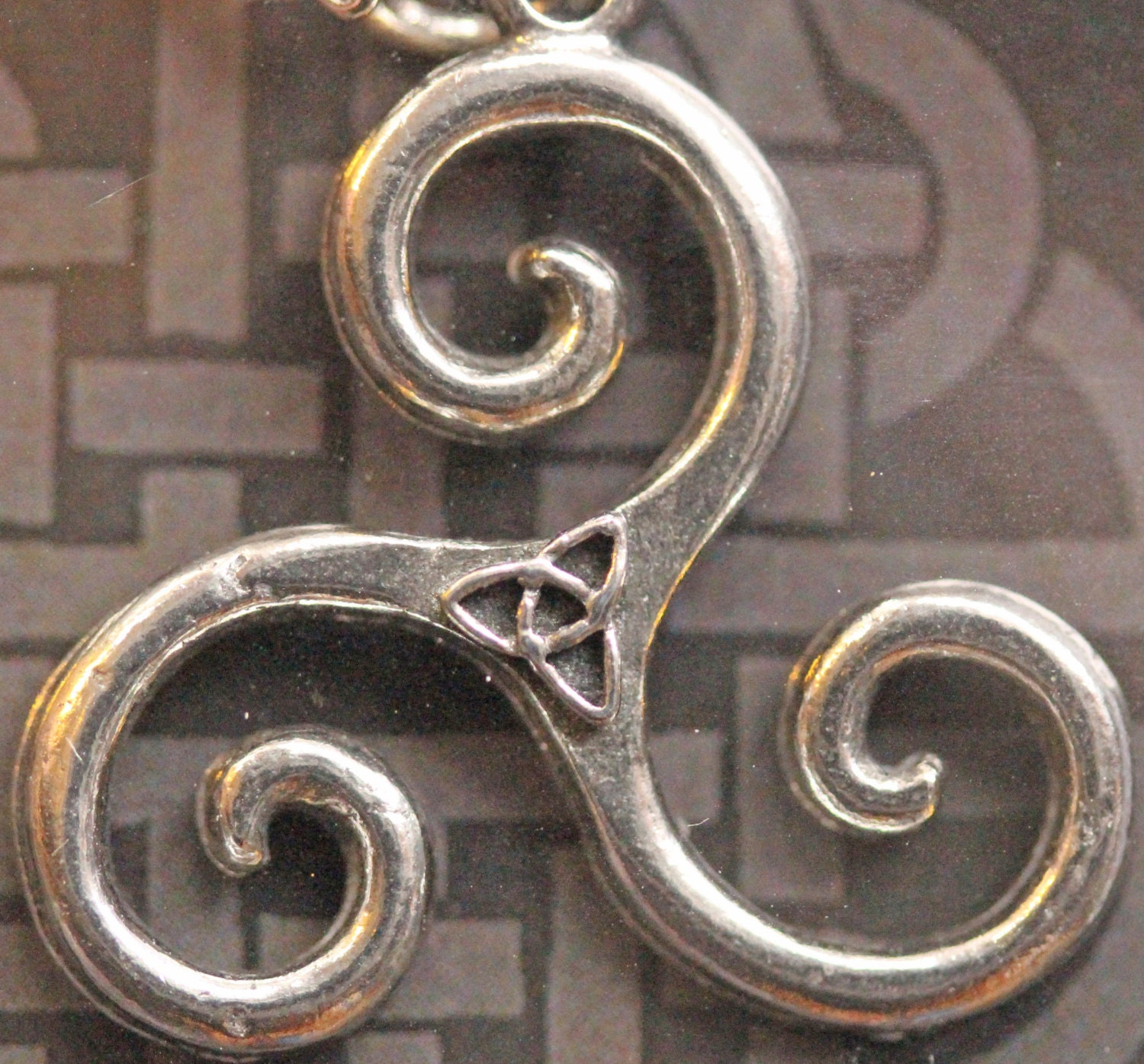 triskele hand necklace pendant celtic irish carved knot rosewood product shamrock