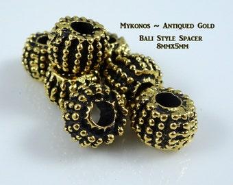 Mykonos Bali Style Beads, Gold Rondelle, Mykonos Gold Rondelle - Antiqued Gold (X0800) Rondelle Spacer Bead - 8mmx5mm - Qty. 4