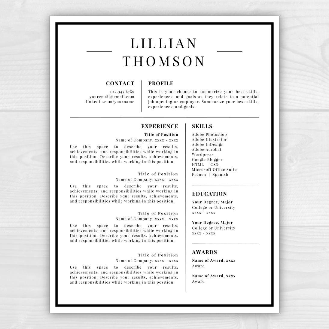 Professional Resume Template Microsoft Word: Professional Resume Template For Word & Pages CV Template
