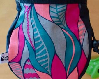 Pink Leaf print Chalk Bag