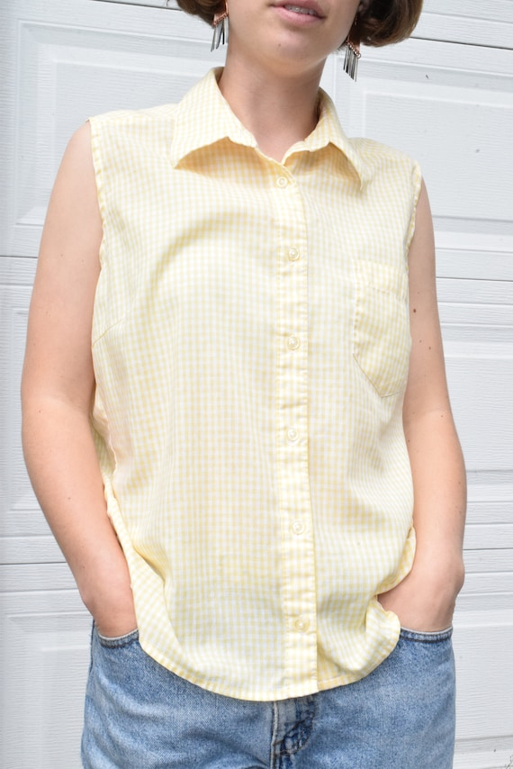 Lemon and White Gingham Sleeveless Shirt.
