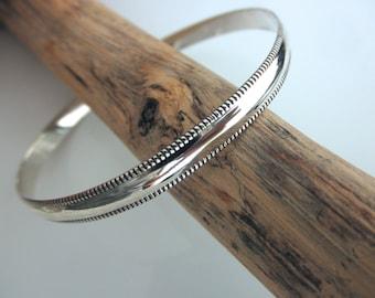 Sterling silver bangle bracelet milgrain edge - milgrain bangle bracelet - 925 solid sterling silver
