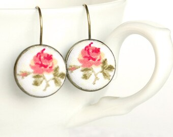 Romantic Leverback Earrings, Antique Tea Roses, Pink Beige Tan and Green Fabric Covered Buttons Earrings, Mothers Day Gift, Vintage Jewelry