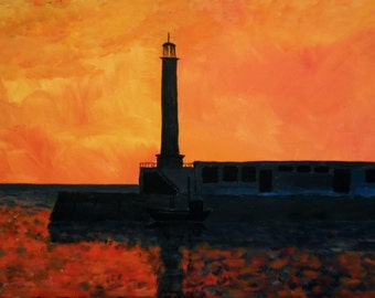 Original Acrylic painting of Margate pier and lighthouse in sunset