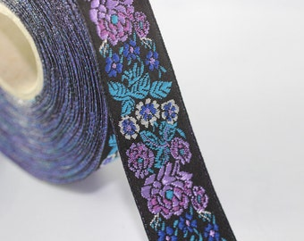 22mm Blue/Black Floral Embroidered ribbon (0.86 inches), Vintage Jacquard, Floral ribbon, Sewing trim, Jacquard trim, Jacquard ribbon, 22097