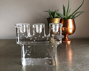 vintage glass Dansk candelabra 3 arm glass block taper candle holder