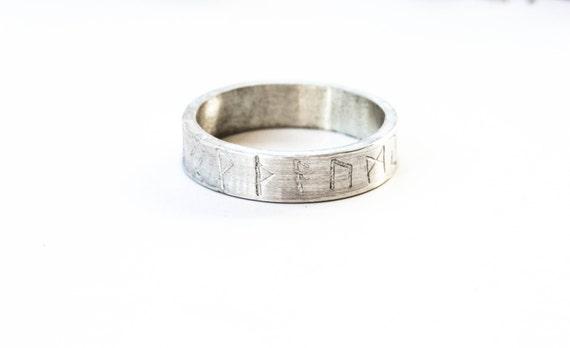 Sterling silver elder futhark rune ring, viking wedding band, sterling silver unisex ring