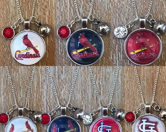 St. Louis Cardinals Baseball Inspired Fan Charm Necklace