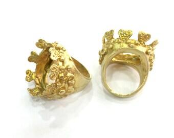 Raw Brass Adjustable Ring  (20mm Blank) , Bezel Settings,Cabochon Base,Mountings G3246