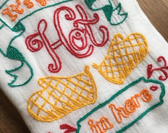 Hot in Here Hand-Embroidered Dish Towel