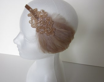 Champagne 1920s headband, Great Gatsby feather fascinator, beaded feathered Prom Headband Great Gatsby Dress Headpieces,  Flapper Dress