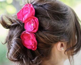 Hot Pink Bridal Flower Hair Pin Trio