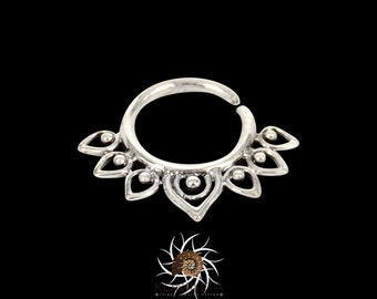Lotus Silver Septum Ring - Septum Jewelry - Septum Piercing - 18G Septum Ring - 16G Septum Ring - Indian Septum Ring - Tribal Septum (S10)