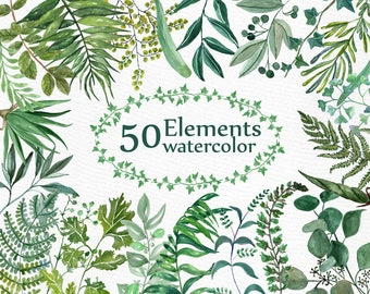 "Watercolor Ferns Clipart: ""WATERCOLOR CLIP ART"" Branches clipart Greenery clipart Wedding clip art Foliage clip art Diy wedding invites"