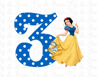 Snow White Birthday Shirt Personalized Disney Birthday Iron On Transfer Personalized FREE for Girls