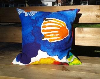 Pillow cover made from Marimekko fabric Juhannustaika, colorful accent pillow, throw pillow or cushion cover, modern Scandinavian design