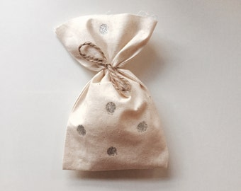 Silver polka dot PARTY favour bags plain calico x 10