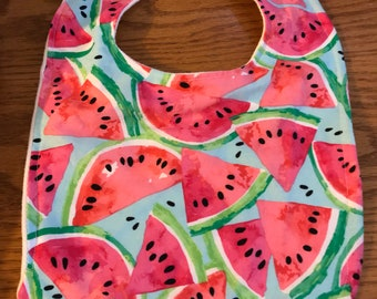 Infant/Toddler Watermelon Print Bib Bamboo Terry Cloth Backing Double Layer