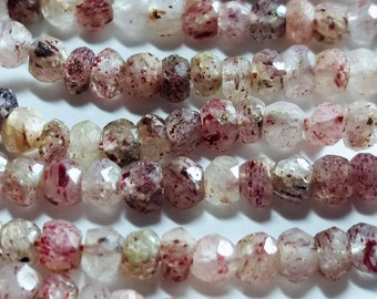 Lodolite, Phantom, Moss, Red Spotted Quartz Hand Faceted Rondelle Beads 3mm to 4mm