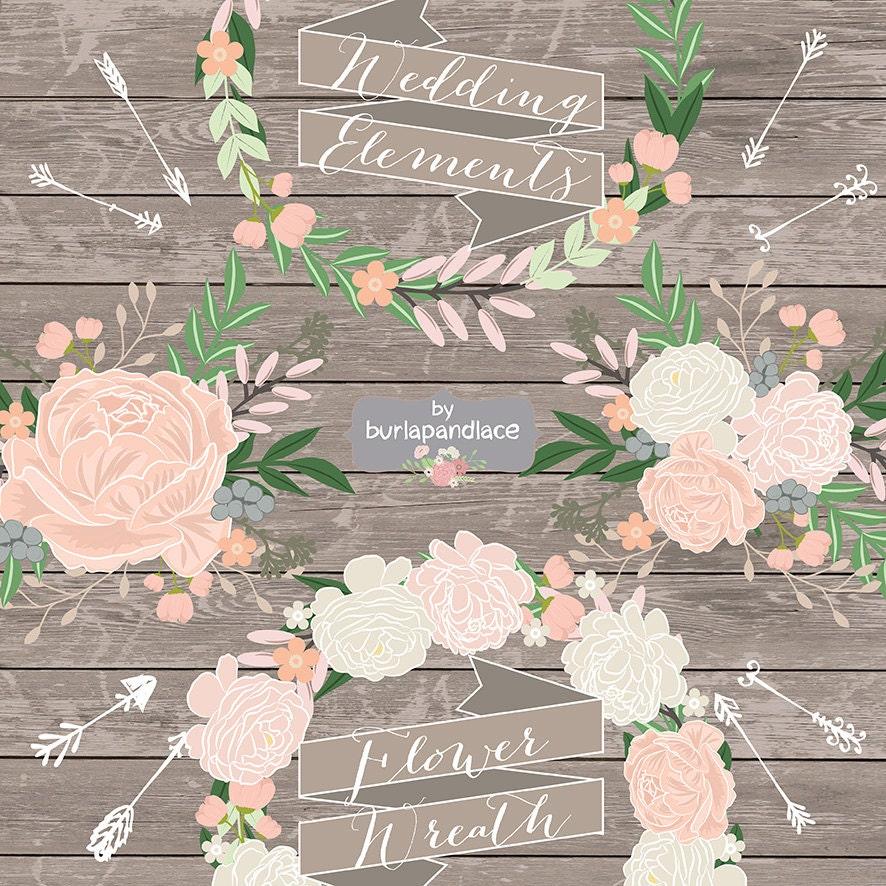 Vector Rustic Flower Wedding Invitation Clipart