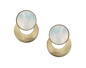 Wide Brass Ring with Mother of Pearl Disc Post Earring