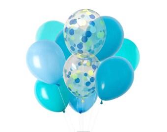 Blue Balloons Mix, Blue Party Balloons, SPLASH Blue Confetti Balloons Mix, Baby Boy Shower Decor, Gender Reveal,Birthday Balloons,Wish&Bloom