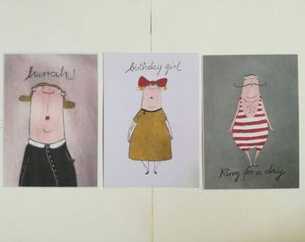 Dreierset Birthday cards/Greeting cards/Funny Cards