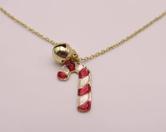 Cute Candy Cane and Jingle Bell Necklace on Gold Tone Setting - Holiday Necklace
