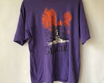 Purple Glacier T Shirt - Nature - Trees - XL - Large - Orange - Graphic Tee