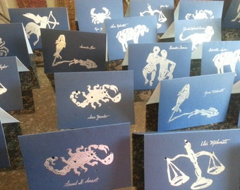 CONSTELLATION PLACE CARDS plus Stamp* Signs of the Zodiac Starry Night Shadow Astronomy Birthday Hand Printed Embossed Sapphire Blue Silver