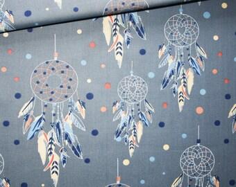 Dream catcher, 100% cotton fabric printed 50 x 160 cm, dream catchers on denim blue background